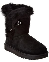 UGG Women's Classic Fluff Pin Suede Bootie - Black