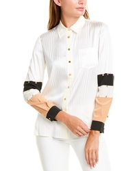 Tory Burch Patchwork Button-down Silk Shirt With Stud Trim - White