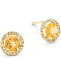 Meira T - Citrine, Diamond And 14k Yellow Gold Stud Earrings - Lyst