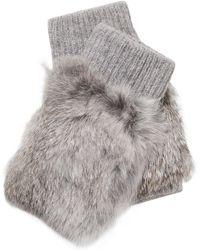Adrienne Landau - Knit Fingerless Mittens With Fur Trim - Lyst