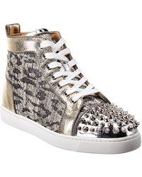 Christian Louboutin Lou Spikes Leather Sneaker - Metallic