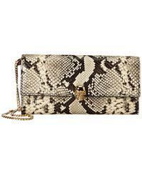 Alexander McQueen Skull Python-embossed Leather Wallet On Chain - Metallic