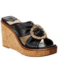 Jimmy Choo - Nevara 90 Leather Wedge Sandal - Lyst