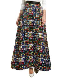 Alice + Olivia Ao X Keith Haring Urusla Satin Maxi Skirt - Blue
