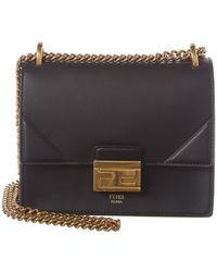 Fendi Kan U Small Leather Shoulder Bag - Black