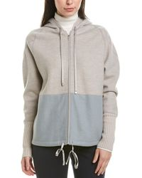 Lafayette 148 New York Zip Front Cashmere-blend Hoodie - Gray