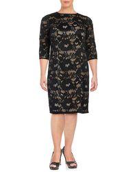 Adrianna Papell Plus Lace Sheath Dress - Black