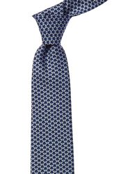 Ferragamo Navy Bugs Silk Tie - Blue