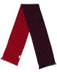Gucci GG Monogram Wool Scarf - Red