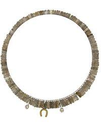 Meira T 14k Two-tone Diamond & Labradorite Horseshoe Bracelet - Metallic