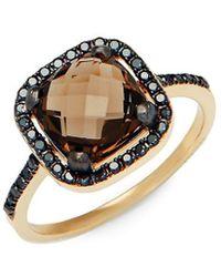 Suzanne Kalan Black Diamond, Smokey Quartz & 14k Ring - Metallic