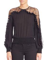 Elie Saab Ruffled & Smocked Long Sleeve Top - Black