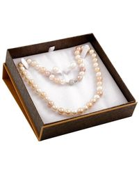 Splendid Silver 7.5-8mm Freshwater Pearl Necklace & Earrings Set - Metallic