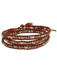 Chan Luu Silver Gemstone & Crystal Wrap Bracelet - Brown