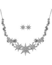 Swarovski Crystal Necklace & Earrings Set - Metallic