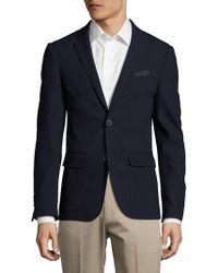 Sand - Slim-fit Wool Textured Blazer - Lyst