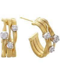 Marco Bicego Marrakech 18k Two-tone 0.40 Ct. Tw. Diamond Hoops - Metallic
