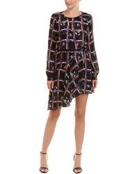 Parker Printed Faux Wrap Dress - Purple