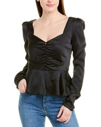 Jonathan Simkhai Hammered Satin Top - Black