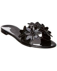 Tod's Floral Leather Sandal - Black