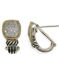 Effy - 18 Kt. Gold & Sterling Silver Diamond Earrings - Lyst