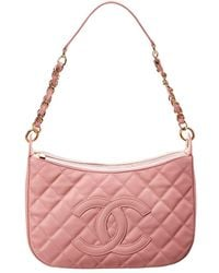 3111903c6c1f Chanel - Pink Quilted Caviar Leather Timeless Cc Shoulder Bag - Lyst