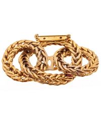 Chanel Gold-tone Chain Link Circles Brooch - Metallic