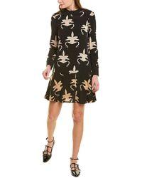 Tibi Ghost Orchid Silk Mini Dress - Black