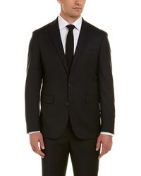 Cole Haan Tailored Wool-blend Suit With Flat Front Pant - Grey