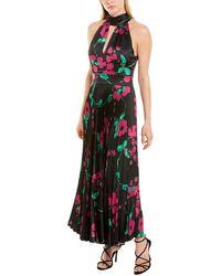 MILLY Adrianna Floral Pleated Halter Dress - Black