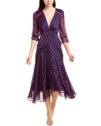 Saloni Edith Silk-blend Midi Dress - Purple