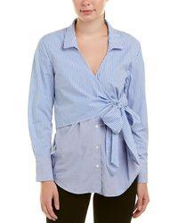Bardot Wrap Tie Top - Blue