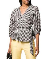Ganni 3/4-sleeve Wrap Gingham Print Shirt - Black