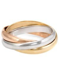 Cartier - Cartier Trinity 18k Tri-tone Size 4.5 Ring - Lyst