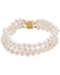 "Masako Pearls - Triple Row 5mm Akoya Bracelet, 14k Yellow Gold Clasp **measurements:** 7"" Long, .6"" At Widest Point - Lyst"