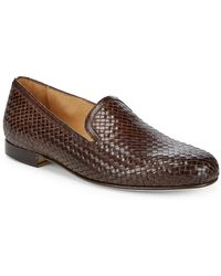 Saks Fifth Avenue Made In Italy Woven Leather Loafers - Brown