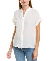 Lavender Brown Mock Collar Silk Blouse - White