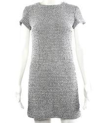 Chanel Grey Cotton Shift Dress, Size Fr 34
