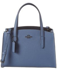 COACH Charlie 28 Leather Carryall Tote - Blue