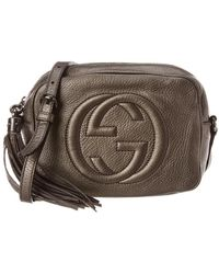 ee4fe40ae2161 Lyst - Gucci Soho Metallic Leather Disco Bag in Natural