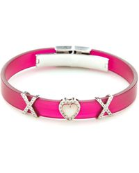 "Vendoro - Pink Plastic, 18k White Gold, Mother Of Pearl & 0.33 Total Ct. Diamond ""xox"" Bracelet - Lyst"