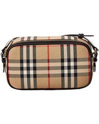 Burberry Micro Vintage Check & Leather Camera Bag - Multicolour