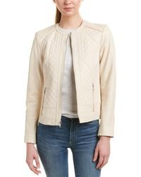 Cole Haan Quilted Leather Moto Jacket - Natural
