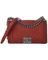 Chanel Red Quilted Suede Medium Single Flap Boy Bag