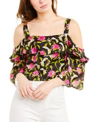 MILLY Small Calla Lily Print On Chiffon Audrey Ruffle Crop Top - Black