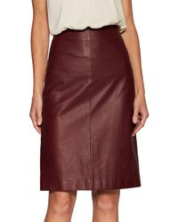 Valentino Leather A-line Skirt - Red