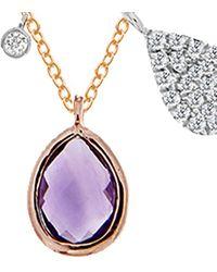Meira T 14k Rose Gold 0.41 Ct. Tw. Diamond & Amethyst Necklace - Multicolour