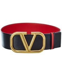 Valentino Garavani Vlogo Reversible Leather Belt - Red