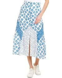 Rebecca Taylor Perla Petal Midi Skirt - Blue