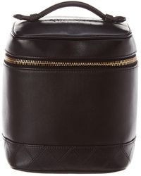 Chanel Black Quilted Lambskin Leather Vertical Cosmetic Case